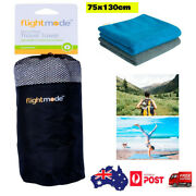2pc Microfibre Travel Towel Fast Quick Drying Gym Camp Sport Beach W/ Carry Bag