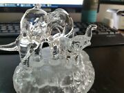 Cristal D'arques Lead Crystal Elephant Mother And Baby Figurines
