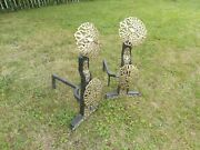 Pair Of Arts And Crafts Brass And Iron Fire Dogs. In The Manner Of Ernest Gimson