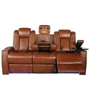 Seatcraft Enigma Home Theater Seating Top Grain Leather Row Of 3 Sofa Dropdown
