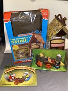 Vtg Fisher Price 960 Woodsey Squirrel Family Cabin Log Complete Book Box