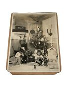 Antique Christmas Card Photo Christmas Trees, Baby, Dolls,train And Toys Rare