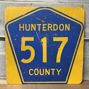 Vintage New Jersey Nj Hunterdon County Route 517 Street Road Sign Marker 24andrdquox24andrdquo