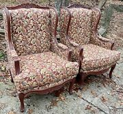 Euc Pair Vintage Wingback Queen Anne Lounge Floral Arm Chair Mid Century Modern