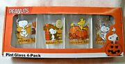 Charlie Brown Peanuts Autumn/fall Pint Drinking Glass 4 Pk Collectible Set