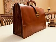 Old English Cognac Bridle Leather Lawyers / Doctors Briefcase - Made In England
