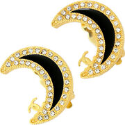 Auth Vintage Clip-on Earrings Crescent Moon Gold Plating Rhinestone Black