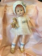 """Vintage 22"""" Patsy Lou Effanbee Doll In Factory Original Tagged Outfit, N-mint"""
