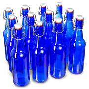 16 Oz. Blue Glass Grolsch Beer Bottle, Pint Size - Airtight Seal With Swing Top/