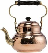 Demmex 1mm Thick Solid Hammered Copper Handmade Tea Pot Kettle Stovetop Teapot,