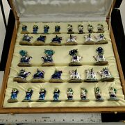 The Chess Set Deluxe 92.5 Pure Silver Enameled Chess Pieces Oleg Cassini