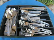 Oneida Stainless Flatware Script Frosted W Glossy 85 Pieces W Serving