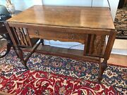 Beautiful Arts And Crafts Mission Transitional Tiger Oak Desk/writing Table