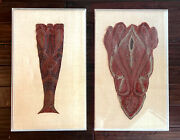 Pair Framed Antique Parsley Shaw Fragments