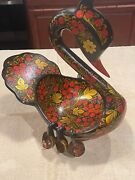 Magnificent Russian Hand-painted Black Lacquer Swan Punch Bowl W/ 6 Cups L@@k