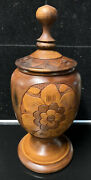 Hand Carved Decorated Floral Leaves Wooden Urn Ginger Jar W/ Lid 17 Tall