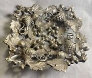 Antique Fine Cast Silver Over Bronze Signed High Relief Bowl Receiver Victorian