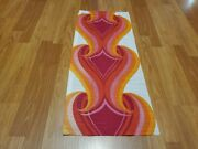 Awesome Rare Vintage Mid Century Retro 70s 60s Org Pink Fire Hearts Fabric Wow