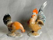 Vintage Us Zone Germany Rosenthal Rooster And Hen Figurines F. Heidenreich