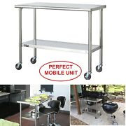 Rolling Work Bench Table Stainless Steel Cart, Adjustable Shelf Heavy Duty Table