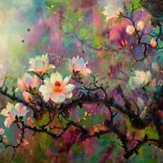 Hand Painted Abstract Flower Scenery Canvas Oil Painting Wall Art Paint Décor