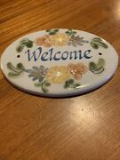 Louisville Stoneware Pottery 8 Oval Floral Hand Painted Welcome Sign