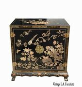 Tall Vintage Mid Century Oriental Asian Chinoiserie Black Laquer Cabinet Table