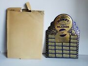 Vintage Gold N Honey Blades Store Display Stand With Boxes Of Shaving Razors Nos