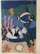 Rare Discontinued Claire Murray Collection Oxford Nylon Two Fish Garden Flag