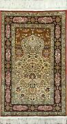 Very Fine Turkish Hereke Rug 100 Silk And Gold Threads 2and0399and039and039x3and03911and039and039 676kpsi