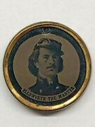 Antique Civil War Tintype Badge Of Ellsworth The Martyr And Brownell The Avenger