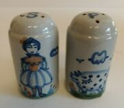 M A Hadley Country Blue Salt And Pepper Shakers Pig And Woman 3 Inch Tallandnbsp