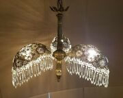 Mid-century Three Light Palm Brass And Crystal Tole Chandelier Lamp Light