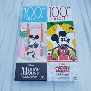 Disneyand039s Mickey Mouse And Friends Mickey And Minnie Two 100 Pc Jigsaw Puzzles