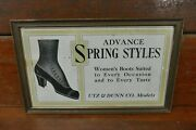 Rare Antique 1900s Utz And Dunn Co Womenandrsquos Boots Framed Cardboard Trolley Car Sign