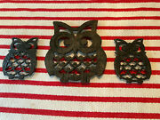 Set Of 3 Cast Iron Owl Trivets Taiwan Mcm 6 Owl And Two 4 Owlets