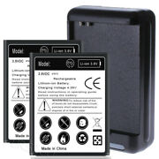 2x Extended Slim Battery For Samsung Galaxy Siii S3 Sch-r530m W External Charger
