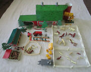 1950s Marx Happi Time Farm Playset Parts Tractor Implements Coop Barn Silo 54mm