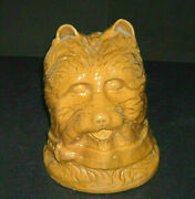 Early 1880 - 1915 Yellow Ware Terrier Dog Bank - Stoneware Figural