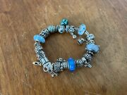 Pandora Bracelet Sterling Silver 19cm Used Condition With 23 Charms 19 Cm 1 Clip