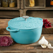 The Pioneer Woman Timeless Beauty Cast Iron 5-quart Dutch Oven Turquoise
