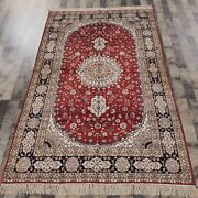 5and039x8and039 Handknotted Silk Carpets Traditional Kid Friendly Red Indoor Rug 048m