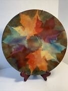 Large Enamel Plate With Autumn Leaves And Star Of David