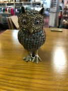 Vintage Figurine/statue Beaded Owl Made Out Of Wire Indian Antiques Iconic