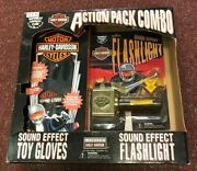 Vintage Harley Davidson Action Pack Combo Sound Effect Toy Gloves And Flashlight