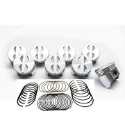 Sealed Power Flat Top 4-reliefs Pistons Set/8+cast Rings Kit For Chevy 283 +.040