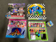 Lot Of 4 - Vintage Mcdonaldand039s Hot Wheels And Barbie Happy Meal Toy Display