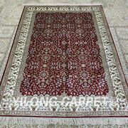 4.5and039x6.5and039 Red Handmade Silk Carpet Antistatic All-over Area Rug H320b