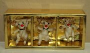 Vtg Christmas Fitz And Floyd Set Of 3 Swinging Reindeer Rudolph Ornaments Box A