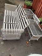 Russell Woodard Mid Century Modern Iron Glider Sofa With Tables